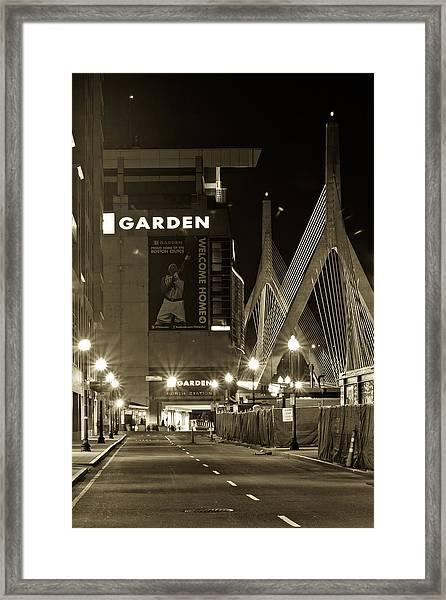 Boston Garder And Side Street Framed Print