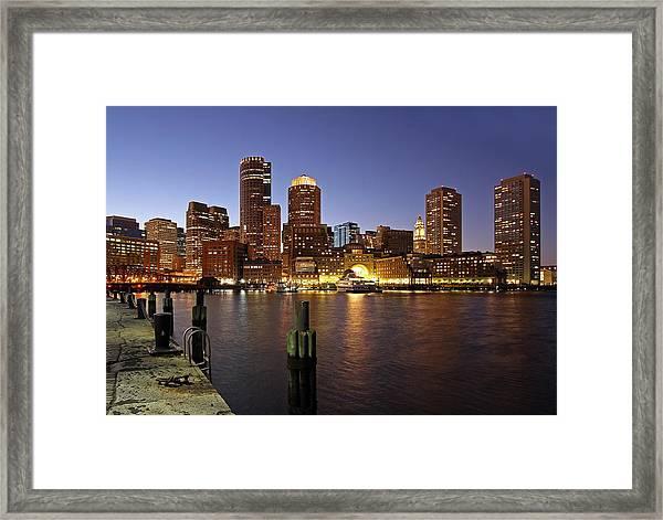 Boston Skyline And Fan Pier Framed Print