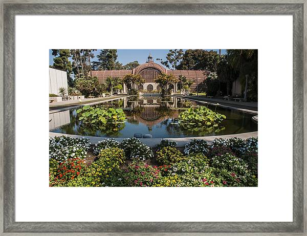 Botanical Building Reflecting In The Lily Pond At Balboa Park Framed Print