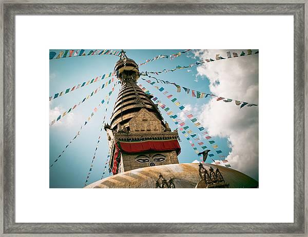Boudhnath Stupa In Nepal Framed Print