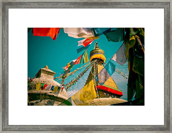 Framed Print featuring the photograph Boudnath Stupa In Kathmandu Nepal by Raimond Klavins