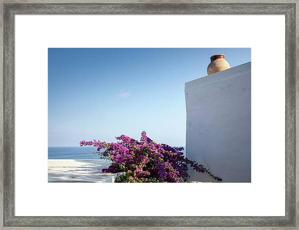 Bougainvillea And White House In A Framed Print