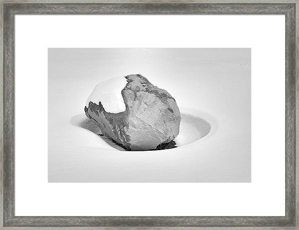 Boulder In Snow Drift Hollow Framed Print