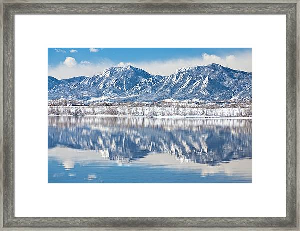 Boulder Reservoir Flatirons Reflections Boulder Colorado Framed Print
