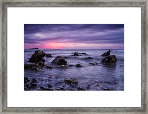 Boulders In The Surf Wallis Sands  Framed Print
