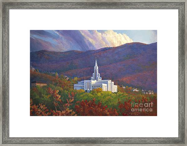 Bountiful Temple In The Mountains Framed Print