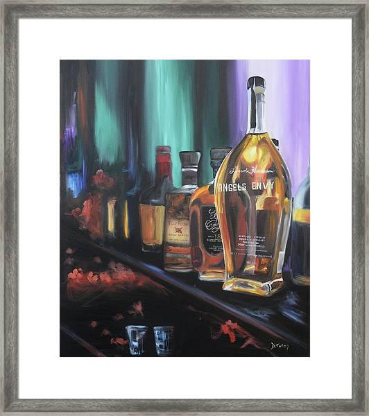 Bourbon Bar Oil Painting Framed Print