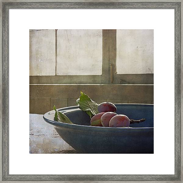 Bowl Full Of Plums Framed Print