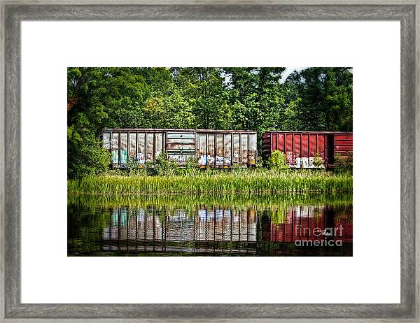 Boxcar Reflection Framed Print