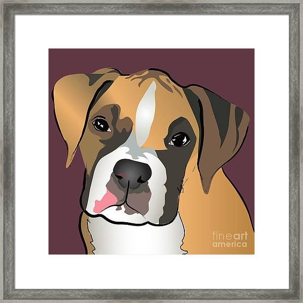 Boxer Puppy Pet Portrait  Framed Print