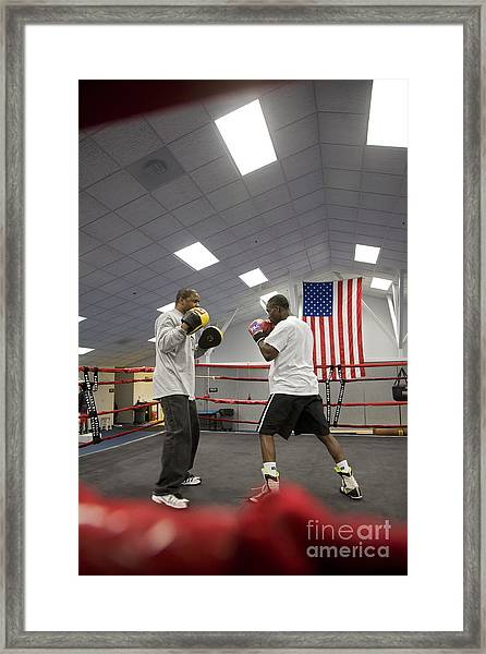 Boxers At Olympic Education Center Framed Print