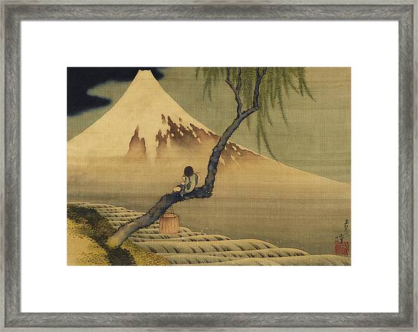 Boy Viewing Mount Fuji Framed Print