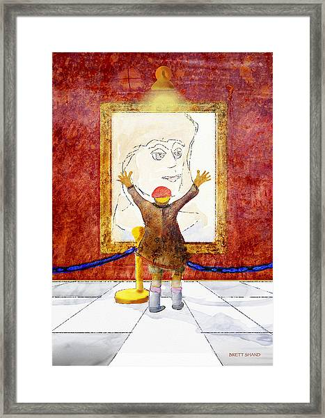 Boy With A Portrait Of His Mother Framed Print