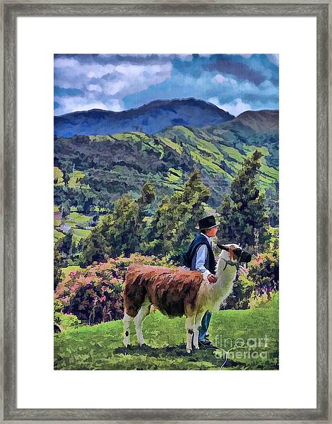 Boy With Llama  Framed Print