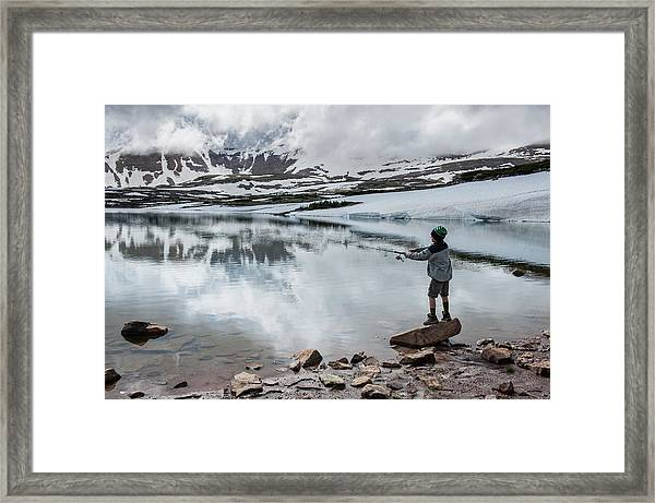 Boys Fish In Superior Lake During A Six Framed Print