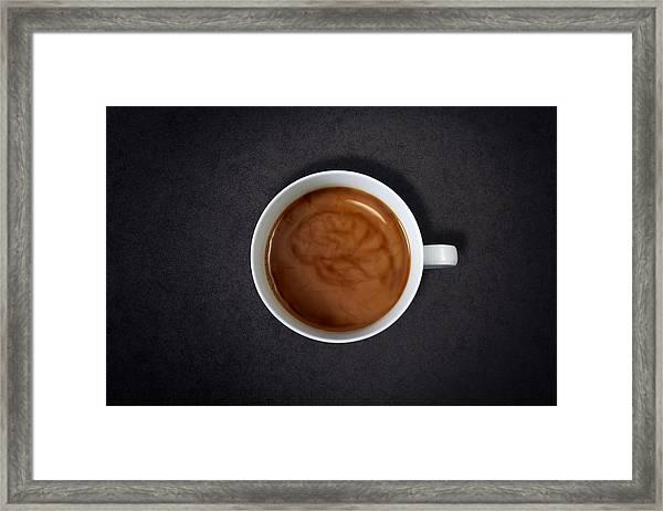 Brain Swirl In A Cup Of Coffee Framed Print by Jan Stromme
