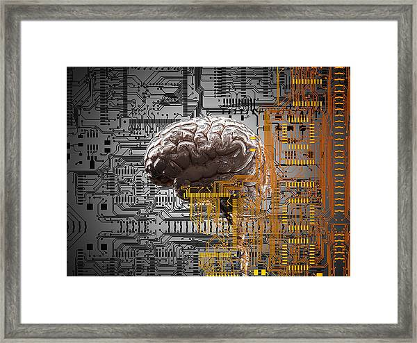 Brain Under Layers Of Circuit Board,  Framed Print by John M Lund Photography Inc