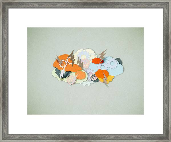 Brainstorming, Paper Cutting Style Framed Print by Tttuna