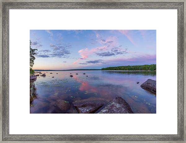 Branch Lake Mirror Sunset Framed Print