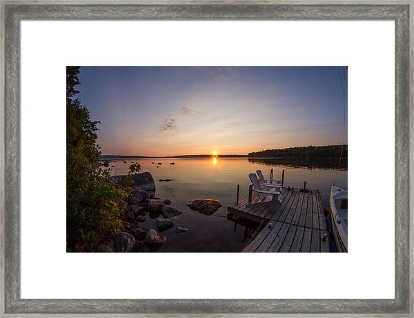 Branch Lake Sunrise In Maine Framed Print