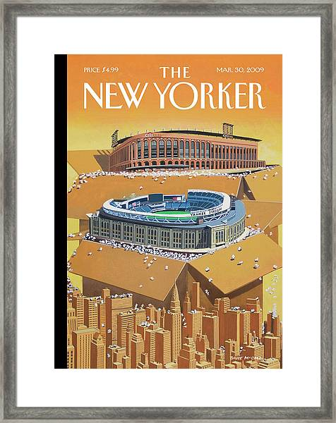 Brand New Yankee's And Met's Stadiums Coming Framed Print