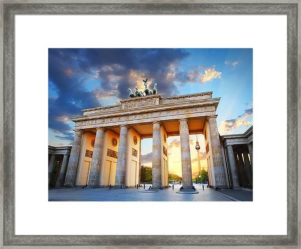 Brandenburg Gate And The Tv Tower In Berlin Framed Print by Narvikk