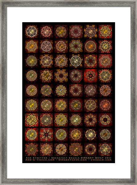 Breakfast Bagels Dingbat Quilt Framed Print