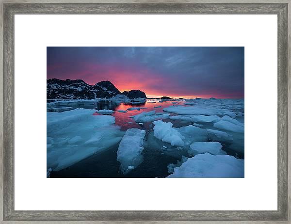 Breaking Ice At Sunrise Framed Print