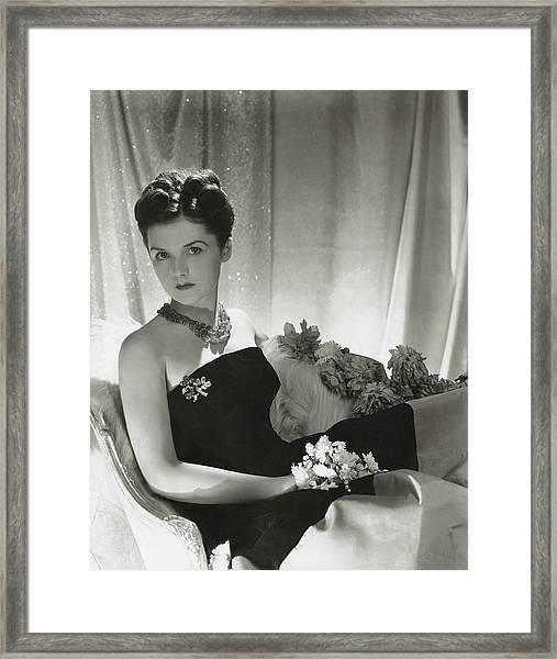 Brenda Frazier Wears A Strapless Velvet Dress Framed Print