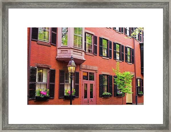 Brick Houses And Gas Street Lamp Framed Print by Russ Bishop