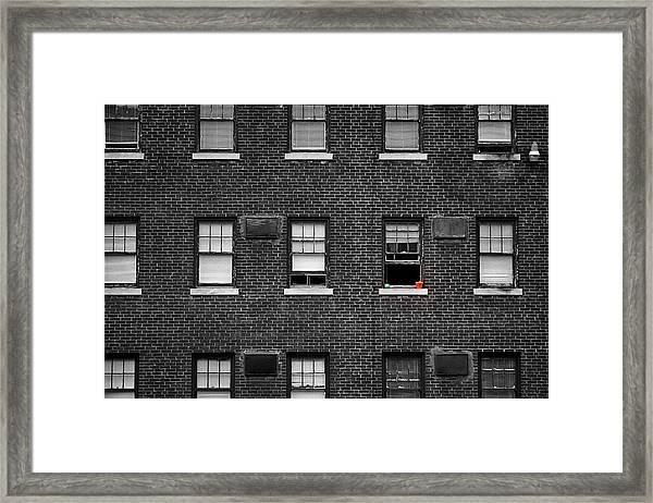 Brick Wall And Windows Framed Print