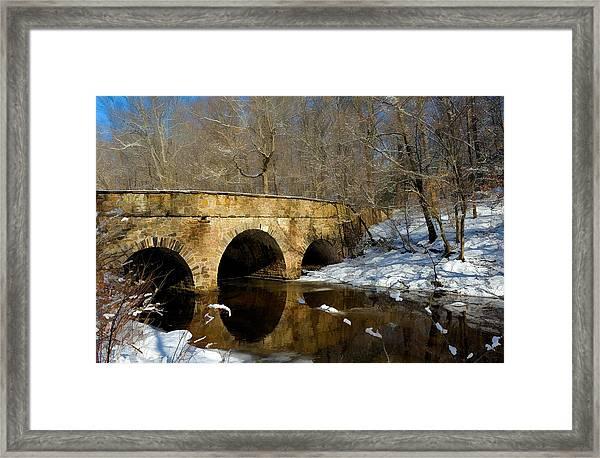 Bridge In Woods Framed Print