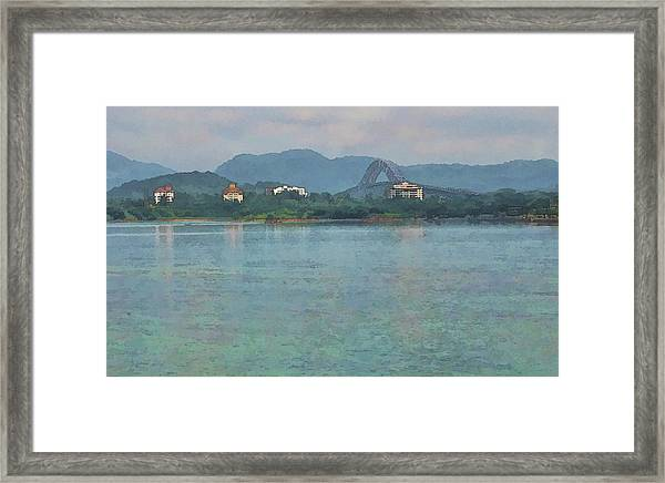 Bridge Of The Americas From Casco Viejo - Panama Framed Print