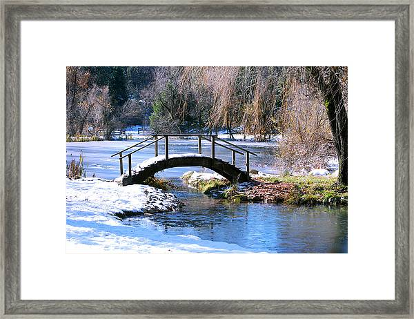 Framed Print featuring the photograph Bridge Over Ice N Snow by William Havle