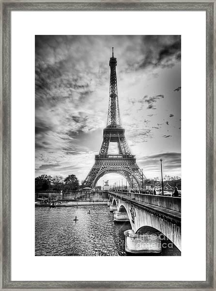 Bridge To The Eiffel Tower Framed Print