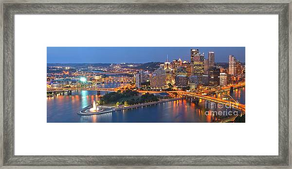 Bridge To The Pittsburgh Skyline Framed Print