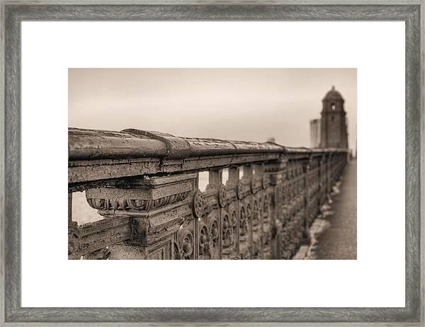 Bridging The Charles Bw Framed Print