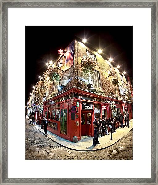 Bright Lights Of Temple Bar In Dublin Ireland Framed Print