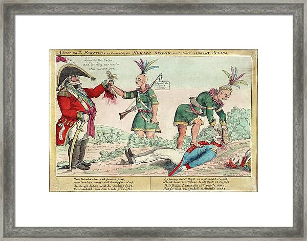 British And American Indian Raids Framed Print by Library Of Congress/science Photo Library