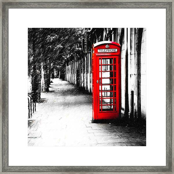 British Red Telephone Box From London Framed Print