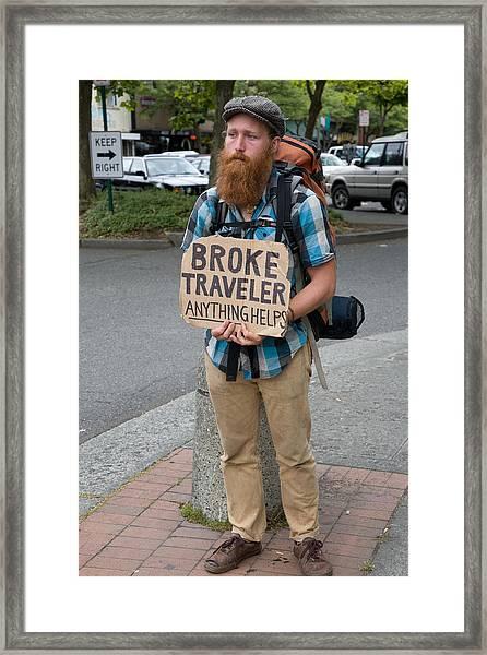 Broke Traveler Framed Print