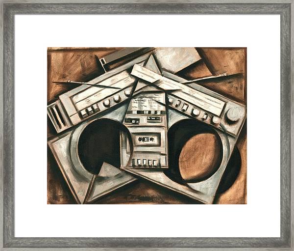 Broken Beats Vintage Stereo Boombox Art Print Framed Print