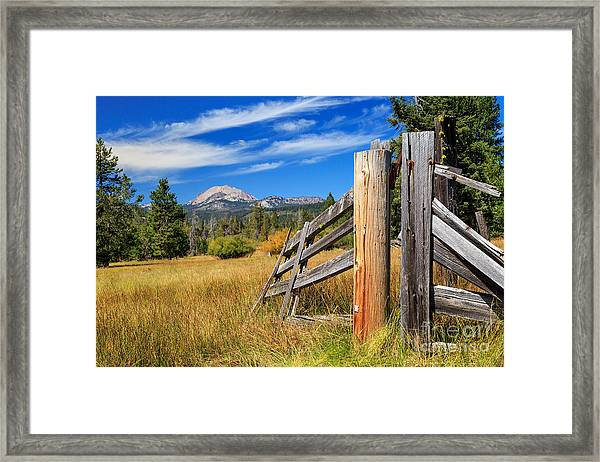 Broken Fence And Mount Lassen Framed Print