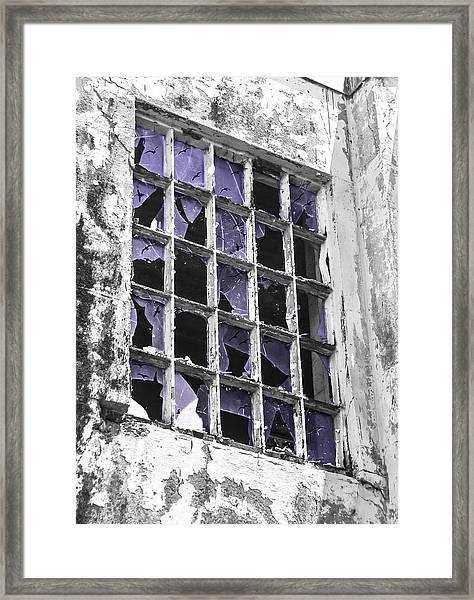Broken Windows With Birds Framed Print