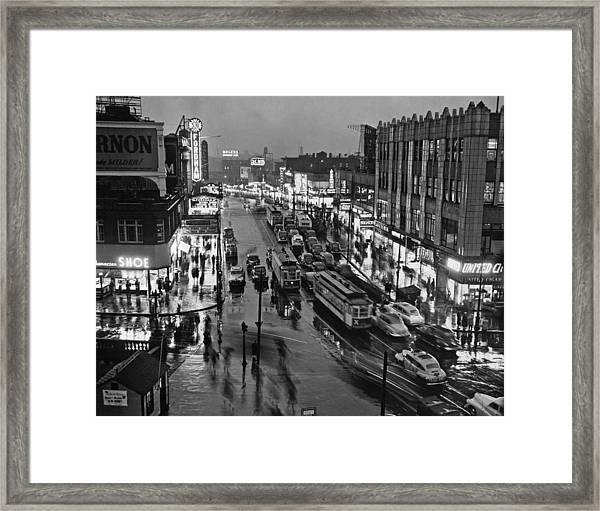 Bronx Fordham Road At Night Framed Print