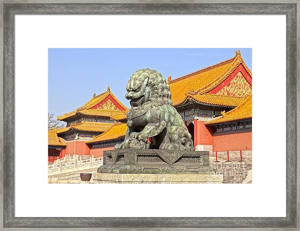 Bronze Lioness Forbidden City Beijing Framed Print