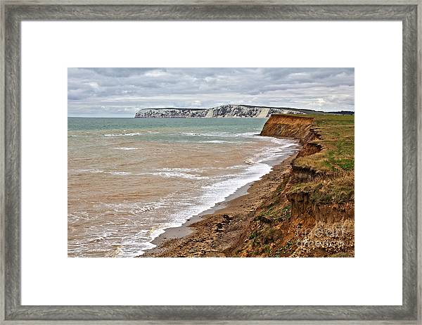 Brook Bay And Chalk Cliffs Framed Print
