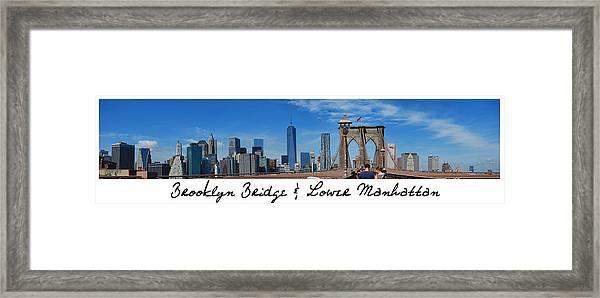Brooklyn Bridge And Lower Manhattan Script Framed Print