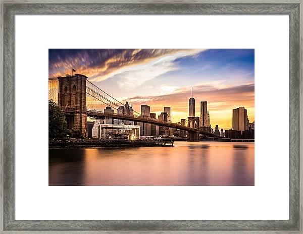 Brooklyn Bridge At Sunset  Framed Print