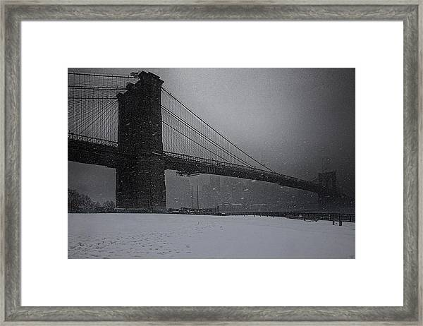 Brooklyn Bridge Blizzard Framed Print